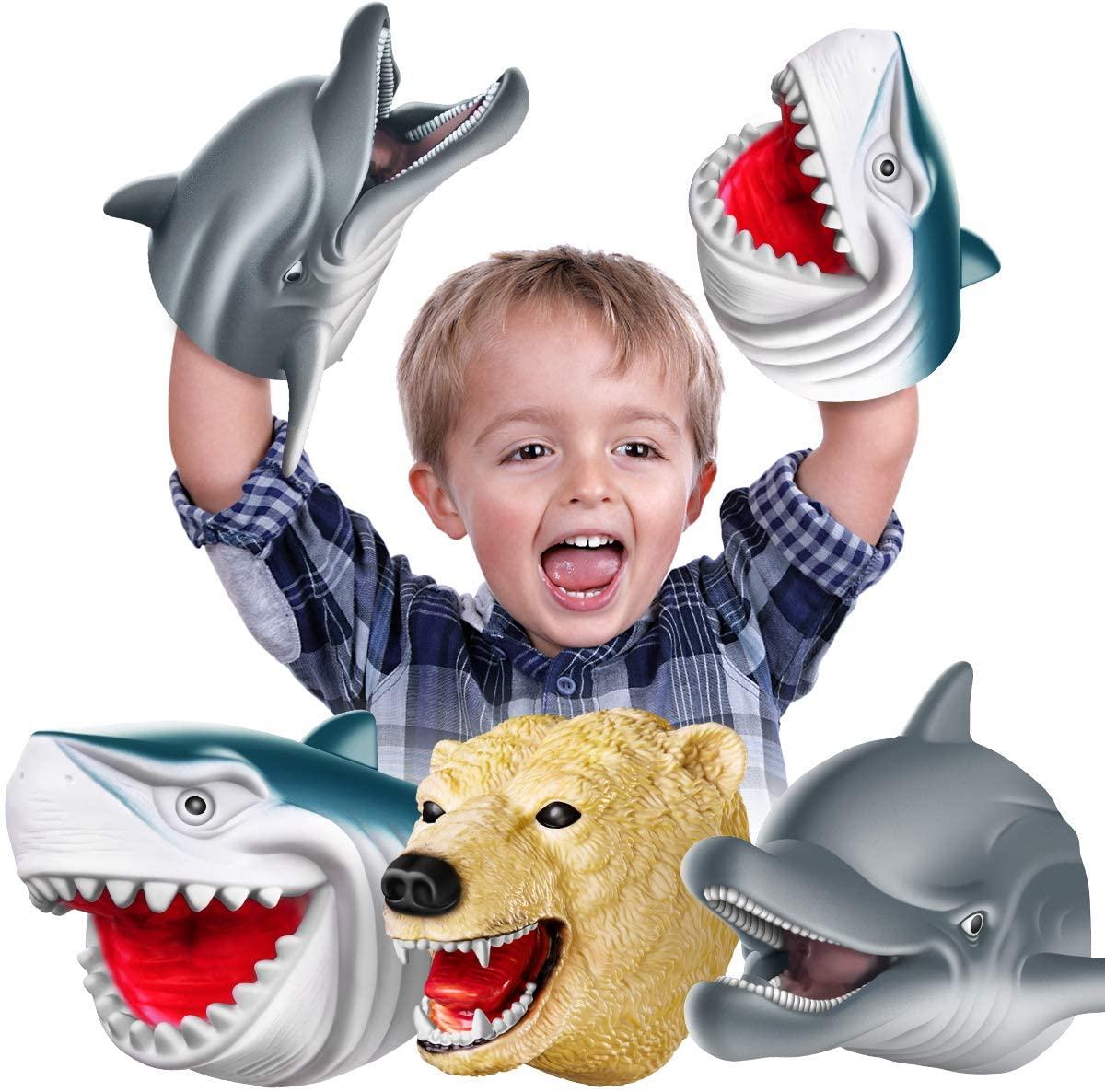 Geyiie Shark Hand Puppets, Kids Hand Puppets Baby Shark Dolphin White Soft Rubber, Sea Animal Head Role Toys Gift for Boys Girls Toddlers Halloween Party Favor , 3 Pack