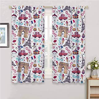 GUUVOR Paris Room Darkened Heat Insulation Curtain Triumphal Arch Famous Tower and Many Other Symbols of The City of Love Kiss Rose Living Room W42 x L72 Inch Multicolor