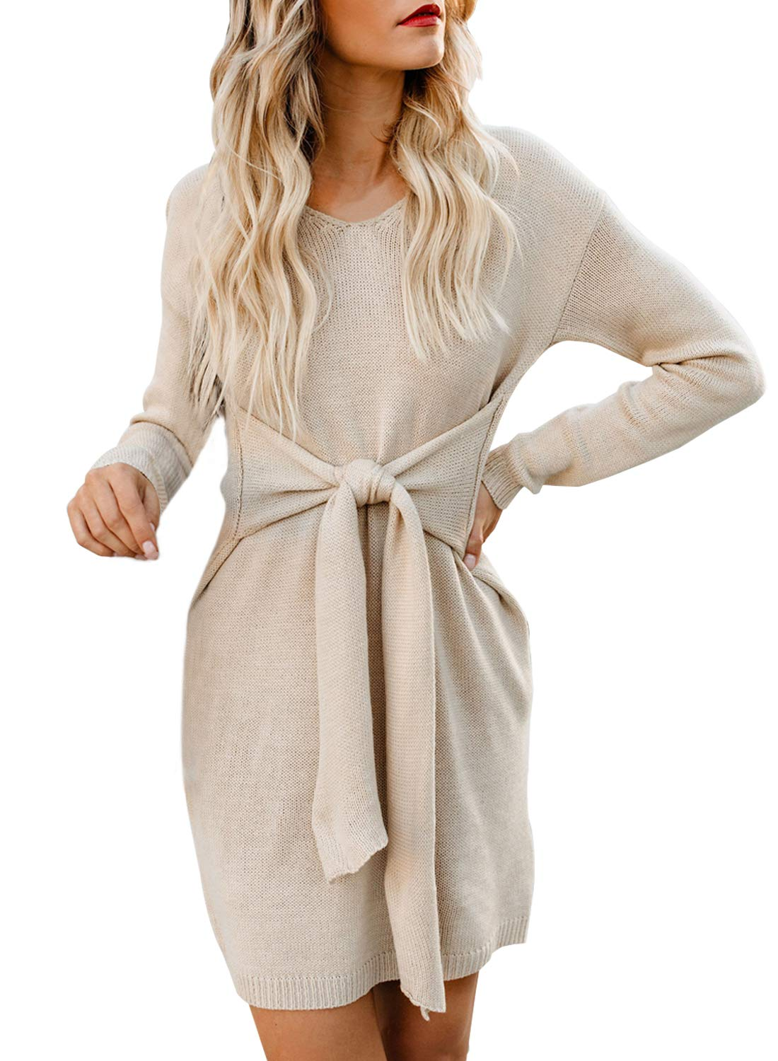 Sweater Dress - Women Cowl Neck Knit Stretchable Elasticity Long Sleeve Slim Fit Sweater Dress
