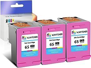 KCMYTONER High Yield Remanufactured 65XL 65 XL 65CXL Tir-Color Ink Cartridge Compatible for HP Envy 5052 5055 5058 Deskjet 2624 2652 2655 3730, Display Ink Level with The Latest chip - 3 Pack
