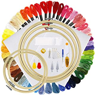 SUPVOX 1 Set Cross Stitch Tool Kit Embroidery Starter Kit Color Threads and Tools Kit with Embroidered Stretch for DIY Cra...