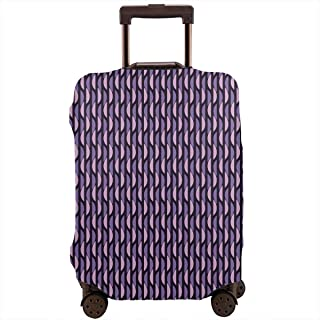 Travel Luggage Cover,Abstract Stripes With Half Circle Vivid Artistic Suitcase Protector