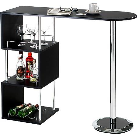 IDIMEX Table Haute de Bar JOSUA Mange-Debout comptoir avec Plateau Mobile et 3 /étag/ères Structure en m/étal laqu/é Couleur Aluminium et Table en MDF d/écor ch/êne Sonoma