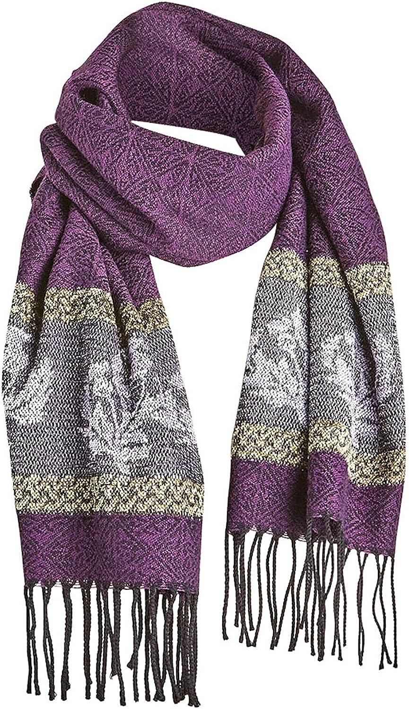 Catalog Classics Women's Celtic Thistle Scarf - Purple Wrap with Fringe