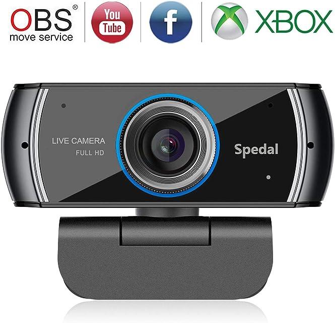 Spedal Full HD Webcam 1080p Streaming Cámara Web con Micrófono USB Webcam para Xbox OBS XSplit Skype Facebook Compatible con Mac OS Windows 10/8/7
