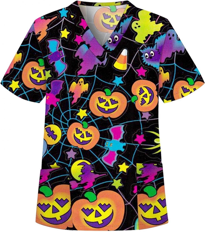 xoxing Halloween Shirts for Women Casual V Neck Short Sleeve Fun Printed Shirts Working Uniform Loose Tunic Tops Blouse