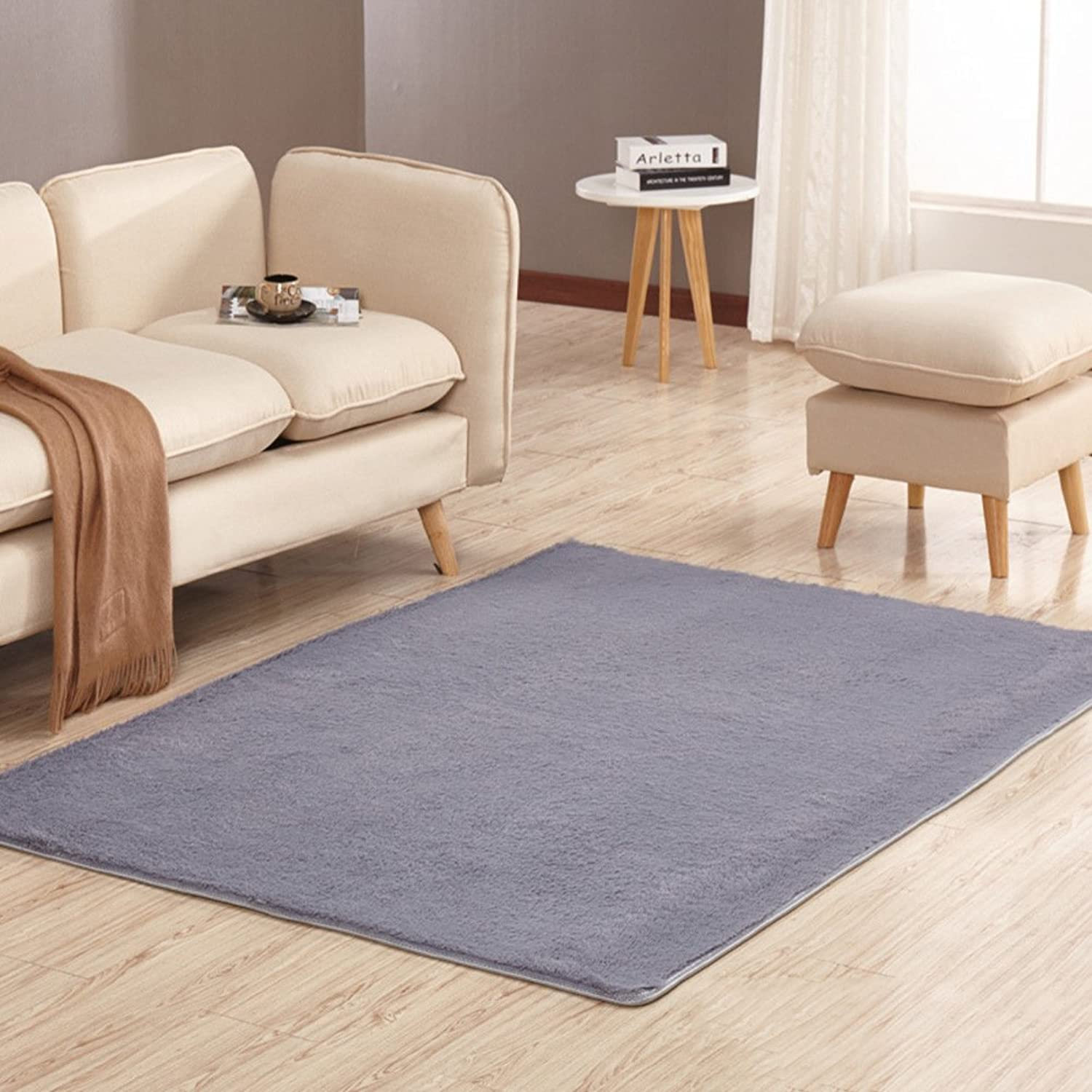 Solid color plush mat Living room Bedroom mats Anti-skidding Fastness Don't drop the mat.-F 100x160cm(39x63inch)