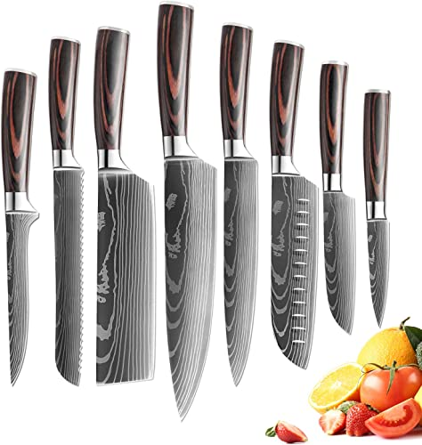 lowest XITUO Kitchen chef Knife Set,8 popular Piece High Carbon Stainless Steel Knives Pakkawood Handle, Ultra Sharp Cooking Knife with Knife Sheath & Gift Box online (8PCS Chef Knife Set) online sale