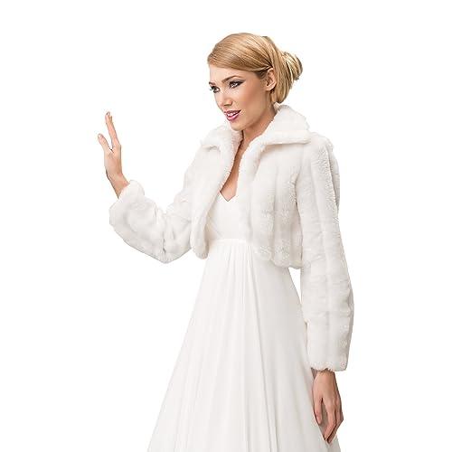 b705dbd57ec Wedding mink faux fur bridal jacket shrug collar cape long sleeve bolero  full lined