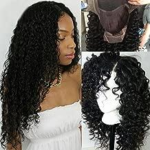 Peluca natural de color negro, sin pegamento en el frente, con encaje, pelucas brasileras de pelo humano con rulos y ondas profundas con pelo de bebe S-noilite ® 8