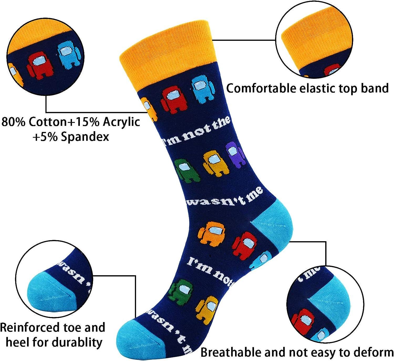 VoTii Game Socks for Men, Impostor Novelty Funny Crazy Pack of 3