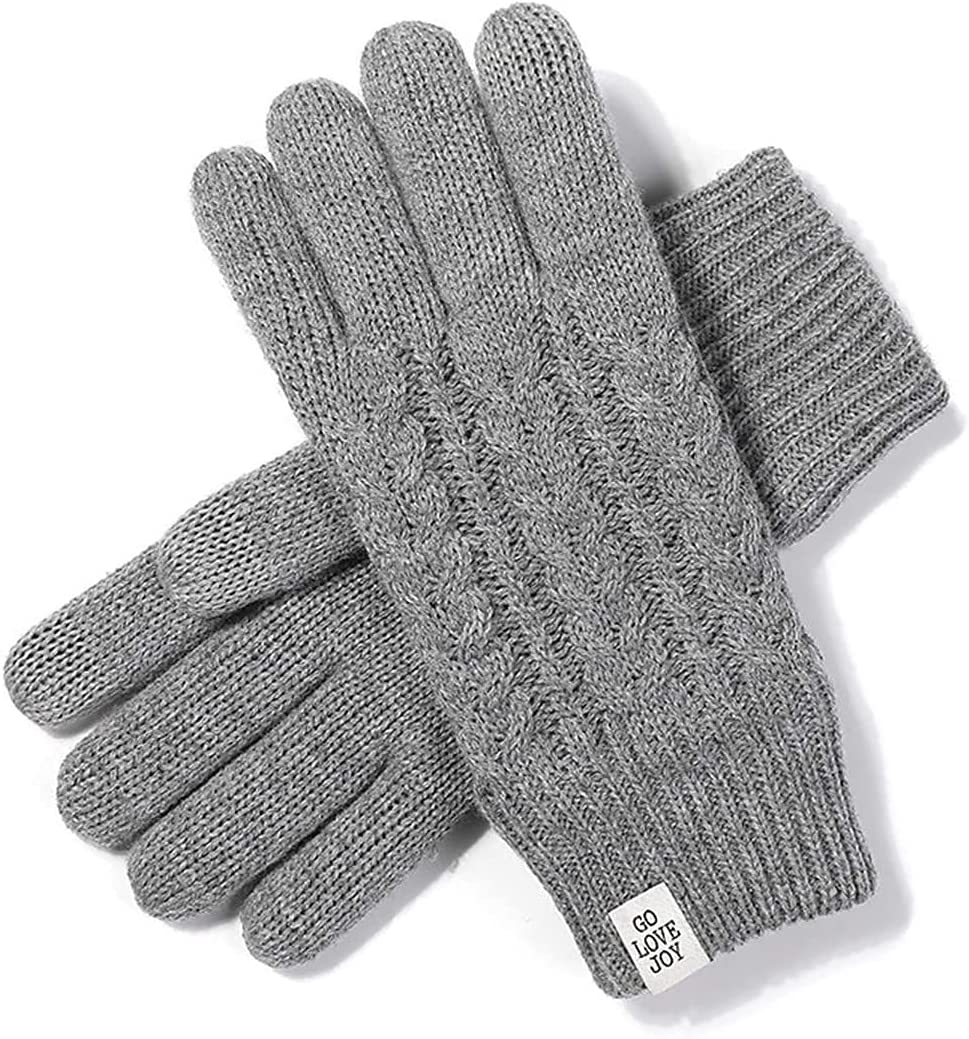 RSQJ Warm Touch Screen Gloves Ladies Knitted Gloves for Outdoor Travel in Autumn and Winter,Pink (Color : Light Gray)