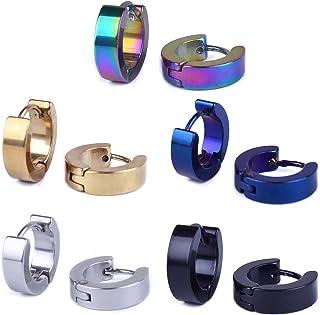 BronaGrand 5 Pairs Stainless Steel Small Hoop Earrings Ear Stud for Men Or Women