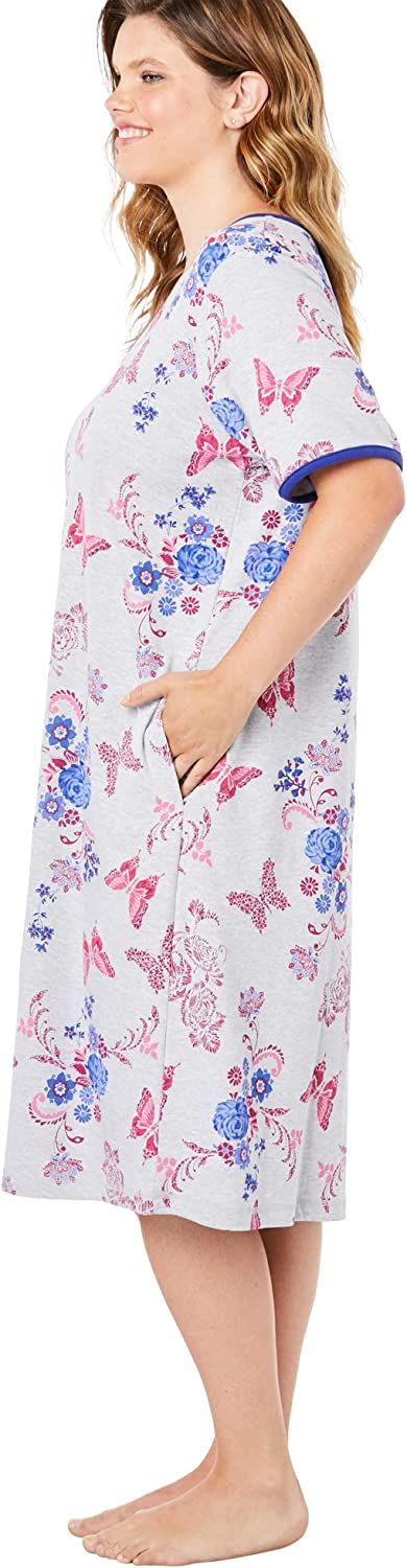 Dreams & Co. Women's Plus Size Short T-Shirt Lounger House Dress or Nightgown - 2X, Navy Paisley Multicolored
