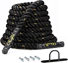 KingSo Battle Rope 1.5 Inch Heavy Battle Exercise Training Rope 30ft Length Workout Rope 100% Dacron Fitness Rope for Stre...