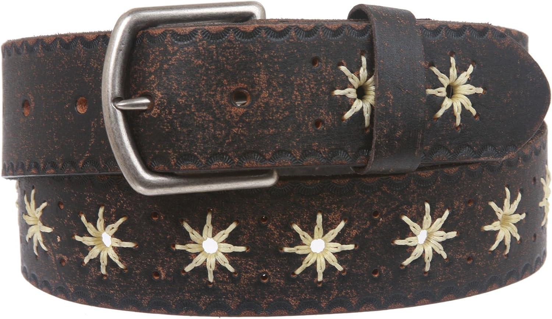 1 1 2  (38 mm) Snap on Vintage Embossed Leather Belt