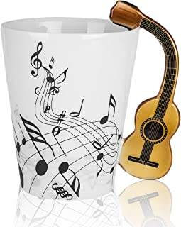 LanHong - 13.5 oz Musical Notes Design Guitar Mug Drink Tea Milk Coffee Mug Music Ceramic Cup Gift for Friend (Wood)