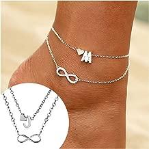 Fashion Multilayer Infinity Heart Letter Bracelets for Women Silver Chain Ankle Initial Bracelet Jewelry Ladies Bracelets