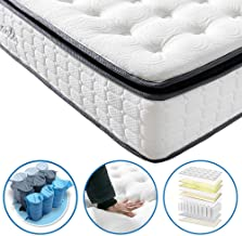 Vesgantti Pillow Top Series - 10.6 Inch Innerspring Hybrid Queen Mattress/Bed in a Box, Medium Firm Plush Feel - Multi-Layer Memory Foam and Pocket Spring - CertiPUR-US Certified/10 Year Warranty
