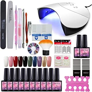Fashion Zone 10 Colors Soak Off Gel Polish Starter Kit 36W LED UV Nail Dryer Curing Lamp Manicure Nail Tool