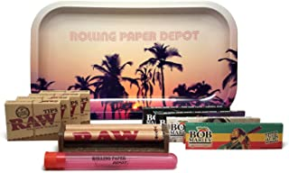 Bundle - 11 Items - Rolling Paper Depot Tray (Retro Palms), Bob Marley King Size Papers, RAW Pre-Rolled Tips, RAW 110mm Roller and Rolling Paper Depot XL Doobtube (Retro Palms)
