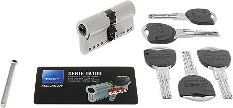 Tesa Assa Abloy, TK153035N, Cilindro de Alta Seguridad, TK100, Doble Embrague, Leva Larga, Niquelado, 30 x 35 mm