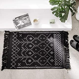 Boho Bathroom Rug Black White Small Tassel Bath Mat, Woven Kitchen Area Rug Fringe, Throw..