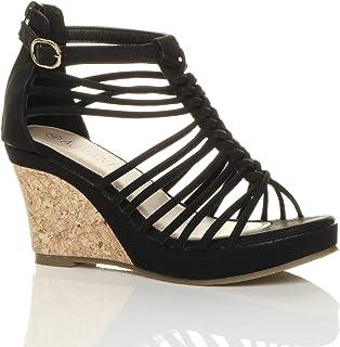 f88e5caa14 Womens Ladies Strappy Gladiator Platform peep Toe high Heel Wedge Sandals  Size