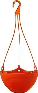 GARDENS NEED 100% Virgin Plastic Bell Pot | Set of 4 Hanging Planter, (20cm x 20cm x 22cm, Red)