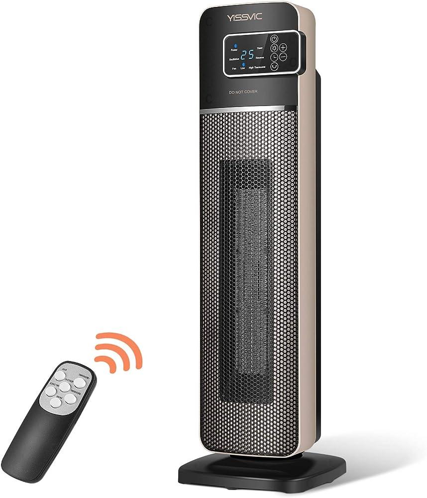 Yissvitc termoventilatore ceramico 2000w, display led e telecomando, temperatura smart costante