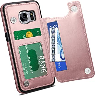 HianDier Wallet Case for Galaxy S7, Slim Protective Case with Credit Card Slot Holder Flip Folio Soft PU Leather Magnetic Closure Cover Case Compatible with Samsung Galaxy S7, Rose Gold