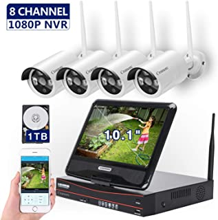 [8CH,Expandable] All in one with 10.1 inches Monitor Wireless Security Camera System, Home Business CCTV Surveillance 8CH 1080P NVR Kit, 4pcs 2MP 1080P Outdoor Night Vision IP Camera, 1TB Hard Drive