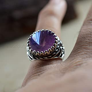 Solid 925 Sterling Silver Ring, Oxidized Arabic Ring, Purple Amethyst Gemstone Men's Heavy Jewelry, Round Shape Stone Ring, Everyday Huge Ring, Gift For Father's Day, Occasion Wear Ring