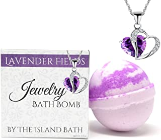 Jewelry Bath Bomb with Heart Necklace - XL- Made in USA (Lavender)