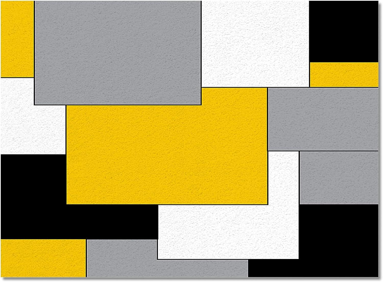 Fashion zzsunfeel Non-Slip Areas Rugs Color Black Fees free Modern Block Yellow Fl