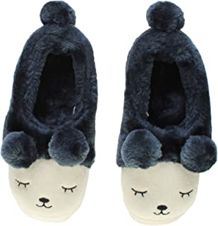 Ajvani Women's Fur Lined Pom Pom Bear Face Slippers Size