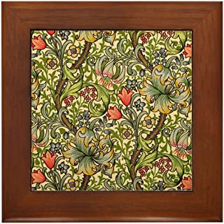 CafePress William Morris Golden Lily Framed Tile, Decorative Tile Wall Hanging