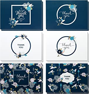 Thank You Cards - 48 Count Thank You Notes, Bulk Thank You Greeting Cards Set, Blank on the Inside - Includes Thank You Gift Cards and Envelopes, 4 x 6 Inches Dark Blue