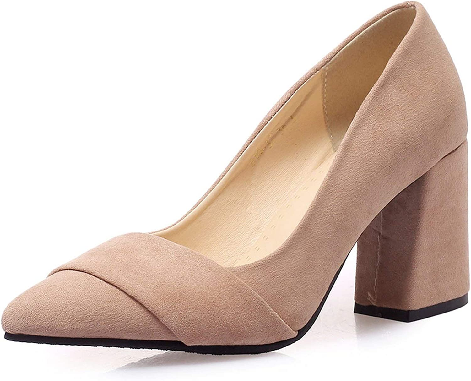FINDYOU Suede shoes Women Pumps Pointed Toe Thick Heels Temperament Elegant High Heels