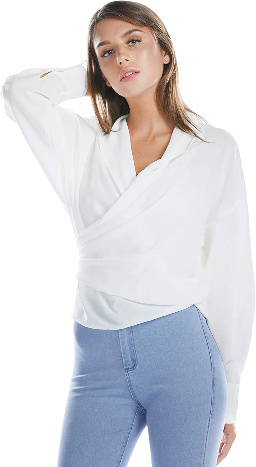 BARGOOS Women Winter All White Wrap Blouse V Neck Long Sleeve Shirts Self Tie Knot Criss Cross Cropped Top