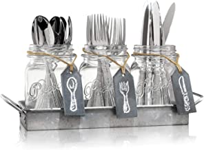 Flatware Caddy Organizer Cutlery Holder - 3 Glass Mason Jars in Galvanized Tray with Handles & Chalk-Tags | Utensil Farmhouse Silverware Caddy For Table | Ideal For Kitchen Countertop, Party, Dining,