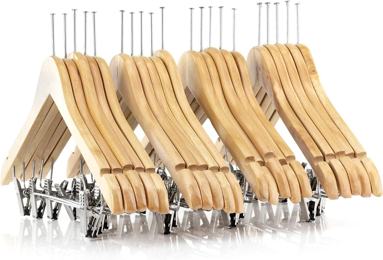 HANGERWORLD 20 Hotel Holz Kleiderbügel 45cm Beige Verstellbare Clips Sicherungsring gegen Diebstahl B00G5GIVUE