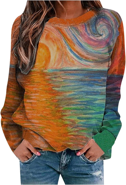 Sweatshirt for Women Crewneck,Women's Casual Crewneck Long Sleeve Sweatshirt Comfy Tees Color Tunic Pullover Top