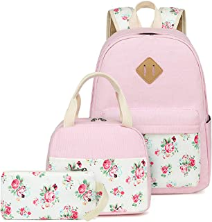 Backpacks for Teen Girls School Bookbags Lightweight Canvas Schoolbag Kids Boys Elementary Lunch bag (Pink Floral)