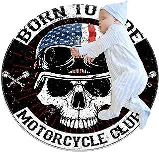 Dödskalle grafisk design motorcykel, barn rund matta polyester överkast matta mjuk pedagogisk tvättbar matta barnkammare t...