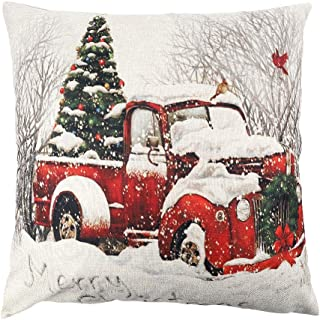 TERUNPU Christmas Pillow Cover 18x18 Inches for Couch Christmas Tree Pillow Cover Red Truck and Snow Farmhouse Pillowcase Faux Linen Cushion Case for Home Decor