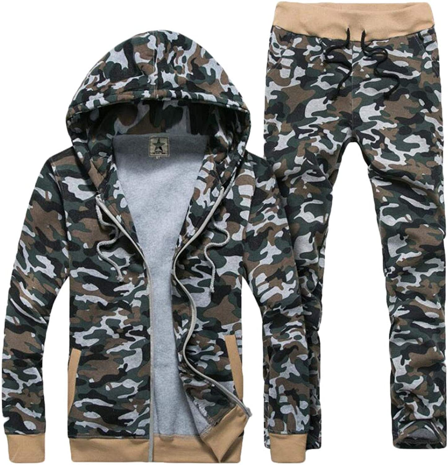 Frieed Men 2 Pieces Winter Camo Print Hooded Jacket and Sport Pants Tracksuit
