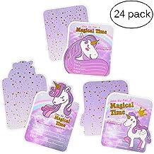 Tarjetas de invitación de cumpleaños de unicornio para niñas, suministros de fiesta de unicornio, 3 estilos, 24 tarjetas con bronceado dorado, 24 sobres, 24 pegatinas de unicornio
