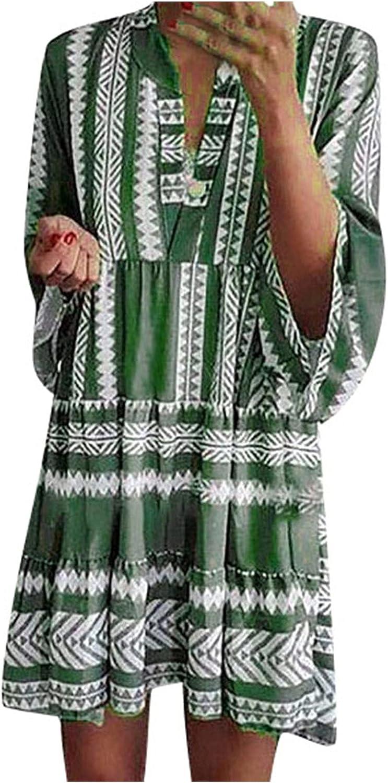 Women's Boho Dress Fashion Casual Summer Printed Fashion Tassel V-neck Mini Dresses