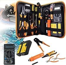 Network Installations or Repairs Tool Kit,Computer Tool Kits,with Screwdrivers Metal Pliers,Tweezers, Digital Multimeter, DIY Home Household Toolkits for Daily Repair and Maintenance (17 in 1 )